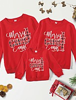 cheap -Christmas Tops Family Look Cotton Letter Athleisure Print Black Red Long Sleeve Basic Matching Outfits / Fall / Spring / Cute