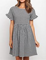 cheap -Women's A Line Dress Short Mini Dress lattice Short Sleeve Plaid Ruffle Spring Summer Crew Neck Casual Modern 2021 S M L XL