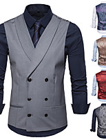 cheap -Men's Vest Gilet Wedding Business Fall Winter Regular Coat Peaked Lapel Regular Fit Thermal Warm Business Casual Jacket Sleeveless Solid Color Color Block Pocket Patchwork Blue Gray Khaki