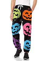 cheap -Men's Fashion Halloween Breathable Sports Pants Sweatpants Casual Daily Pants Pumpkin Halloween pattern Full Length Elastic Drawstring Design Print Black / Red Black