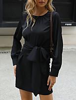 cheap -Women's A Line Dress Short Mini Dress Black Long Sleeve Solid Color Patchwork Fall Winter Round Neck Casual Retro S M L XL