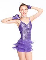 cheap -Belly Dance Latin Dance Dance Costumes Hair Jewelry Tassel Splicing Crystals / Rhinestones Women's Girls' Training Performance Sleeveless Chinlon Elastane Lycra