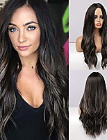 cheap -Black Brown Wig Long Curly Wavy Wigs Synthetic Heat Resistant Natural Realistic Wigs for Women Daily Party Cosplay (Black Brown Ombre,24Inch)