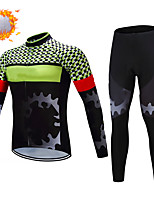 cheap -CAWANFLY Men's Long Sleeve Cycling Jersey with Tights Winter Green / Black Gear Bike Thermal Warm Sports Gear Road Bike Cycling Clothing Apparel / Micro-elastic / Athleisure