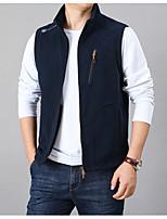 cheap -Men's Vest Gilet Sport Daily Winter Regular Coat Regular Fit Thermal Warm Warm Sporty Jacket Sleeveless Solid Color Pocket Dark Grey Black Navy Blue