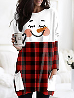 cheap -Women's Christmas Abstract Painting T shirt Plaid Graphic Color Block Long Sleeve Pocket Print Round Neck Basic Christmas Tops Regular Fit Blue Wine Gray / 3D Print