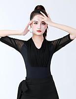 cheap -Latin Dance Ballroom Dance Leotard / Onesie Solid Splicing Tulle Women's Training Performance Half Sleeve Elastane