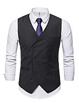 cheap -Men's Vest Gilet Wedding Work Fall Winter Regular Coat Regular Fit Thermal Warm Casual Jacket Sleeveless Solid Color Pocket Blue Gray Black