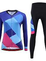 cheap -21Grams Women's Long Sleeve Cycling Jersey with Tights Winter Spandex Blue+Pink Bike Quick Dry Moisture Wicking Sports Graphic Mountain Bike MTB Road Bike Cycling Clothing Apparel / Stretchy