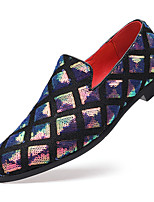 cheap -Men's Loafers & Slip-Ons Casual Daily Party & Evening PU Blue Silver Black Gradient Fall Spring / Rhinestone