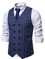 cheap -Men's Vest Daily Fall Winter Regular Coat Regular Fit Thermal Warm Sporty Jacket Sleeveless Plaid / Check Print Blue Red Brown