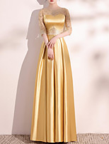 cheap -A-Line Elegant Homecoming Formal Evening Dress Jewel Neck Half Sleeve Floor Length Satin with Appliques 2021