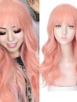 cheap -Pink Long wave wig band bangs lolita teen Cosplay synthetic wig female high tight heat resistant wig