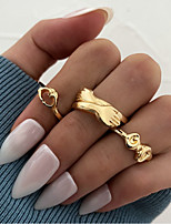 cheap -Ring Cut Out Gold Alloy Sweet Heart Stylish Simple Unique Design 3pcs / Women's / Knuckle Ring