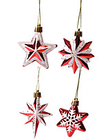 cheap -Christmas Tree Decoration Special-shaped Multi-pointed Star Five-pointed Star Christmas Tree Decoration Props Red And White Stars