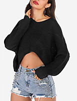 cheap -Women's Pullover Sweater Jumper Knitted Solid Color Vintage Style Elegant Long Sleeve Sweater Cardigans V Neck Fall Winter Red Wine Black / Loose