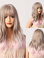 cheap -HAIR CUBE Gray Pink Ombre Long Wavy Synthetic Wigs With Bangs Natural Wigs for Women Cosplay Lolita Hair Wig Heat Resistant