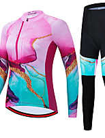 cheap -21Grams Women's Long Sleeve Cycling Jersey with Tights Spandex Polyester Pink Funny Bike Clothing Suit 3D Pad Quick Dry Moisture Wicking Breathable Back Pocket Sports Graphic Mountain Bike MTB Road