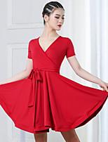 cheap -Latin Dance Ballroom Dance Dress Cinch Cord Solid Women's Training Performance Short Sleeve High Spandex
