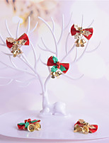 cheap -8 Pieces Linen New Christmas Tree Bowknot With Iron Bells Decoration Christmas Wreath Mini With Bells