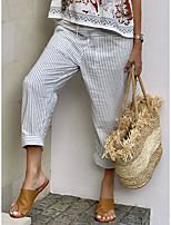 cheap -Women's Casual Streetwear Comfort Chinos Loose Daily Weekend Pants Stripe Ankle-Length Classic Pocket Grey
