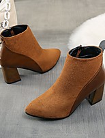 cheap -Women's Boots Chunky Heel Pointed Toe PU Solid Colored Dark Brown Black