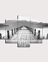 cheap -5 Panels Wall Art Canvas Prints Painting Artwork Picture Black and white picture Painting Home Decoration Decor Rolled Canvas No Frame Unframed Unstretched
