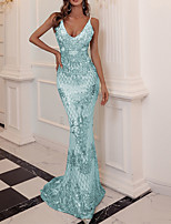 cheap -Mermaid / Trumpet Sparkle Sexy Party Wear Formal Evening Dress V Neck Sleeveless Sweep / Brush Train Sequined with Sleek 2021