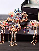 cheap -1 Piece Headdress Phoenix Chinese Bride Headdress Wedding Costume Hair Accessories Suit Atmospheric Dragon And Phoenix Gown Accessories