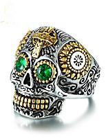cheap -Men Ring Cubic Zirconia Geometrical Silver Titanium Steel Skull Vintage 1pc / Men's