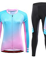 cheap -21Grams Women's Long Sleeve Cycling Jersey with Tights Spandex Blue+Pink Rose Red Bike Quick Dry Moisture Wicking Sports Graphic Mountain Bike MTB Road Bike Cycling Clothing Apparel / Stretchy