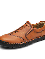 cheap -Men's Loafers & Slip-Ons Casual Daily Cowhide Light Brown Black Brown Fall Spring