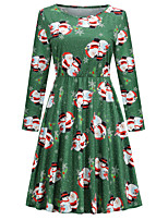cheap -Santa Suit Dress Masquerade Christmas Dress Adults' Women's Vintage Christmas Christmas New Year Christmas Carnival Festival / Holiday Spandex Terylene Green Women's Easy Carnival Costumes Graphic
