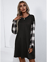 cheap -Women's T shirt Dress Plaid Color Block Long Sleeve Print Round Neck Basic Tops Army Green Gray Black