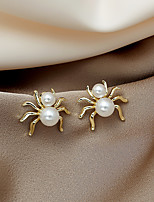 cheap -Women's Stud Earrings Earrings Classic Spiders Fashion European Imitation Pearl Earrings Jewelry Gold For Halloween 1 Pair