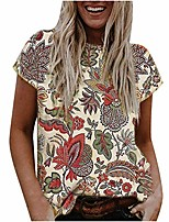 cheap -womens floral short sleeve shirts summer casual vintage graphic tee crewneck loose fit cute t-shirts blouse tops beige