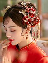 cheap -1 Piece Headdress Chinese Wedding Bride Red Velvet Flowers Handmade Beaded Tassel Wedding Jewelry