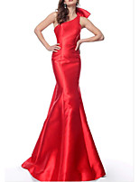 cheap -Mermaid / Trumpet Elegant bodycon Engagement Formal Evening Dress One Shoulder Sleeveless Sweep / Brush Train Satin with Bow(s) 2021