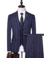 cheap -Men's Party / Evening Suits 1 pcs Notch Standard Fit Single Breasted One-button Straight Flapped Striped Polyester