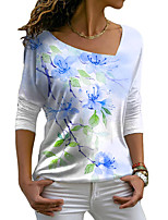 cheap -Women's Floral Theme Painting T shirt Floral Graphic Long Sleeve Print V Neck Basic Tops Blue Purple Blushing Pink / 3D Print