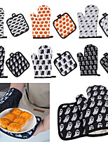 cheap -Halloween Pattern Microwave Oven Insulated Gloves Oven Gloves Thickened Kitchen Anti-scald Gloves