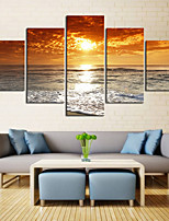cheap -5 Panels Wall Art Canvas Prints Painting Artwork Picture Landscape Sea Sunset Home Decoration Decor Rolled Canvas No Frame Unframed Unstretched