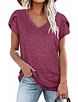 cheap -womens petal sleeve tops v neck summer casual solid color short sleeve t shirts
