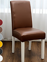 cheap -Waterproof Solid Color Dining Chair Covers, Stretch Chair Cover, Spandex PU Chair Protector Covers Seat Slipcover with Elastic Band for Dining Room,Wedding, Ceremony, Banquet