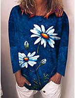 cheap -Women's Floral Theme T shirt Graphic Dandelion Daisy Long Sleeve Print Round Neck Basic Tops Regular Fit Blue Purple Blushing Pink / 3D Print