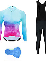 cheap -21Grams Men's Long Sleeve Cycling Jersey with Bib Tights Summer Spandex Polyester Red+Blue Graffiti Funny Bike Clothing Suit 3D Pad Quick Dry Moisture Wicking Breathable Back Pocket Sports Patterned