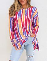 cheap -Women's Geometric T shirt Striped Long Sleeve Print Round Neck Beach Boho Tops Blue Purple Yellow / 3D Print