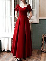 cheap -A-Line Minimalist Elegant Prom Formal Evening Dress Sweetheart Neckline Short Sleeve Floor Length Velvet with Sleek Pleats 2021