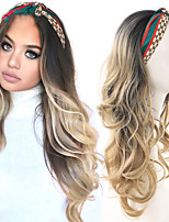 cheap -Synthetic long gradient gold half band wig band natural catch wavy false black / white women