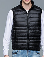 cheap -Men's Vest Daily Fall Winter Regular Coat Regular Fit Thermal Warm Sporty Jacket Sleeveless Solid Color Quilted Wine Gray Green